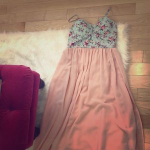 Maxi floral bustier dress blue and blush